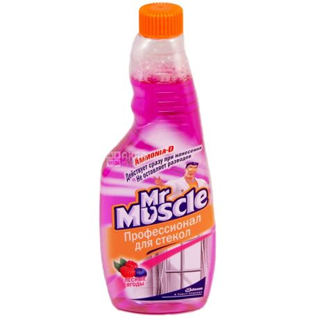 Mr. Muscle, Запасной флакон, Для мытья стекол, Лесные ягоды, 500 мл