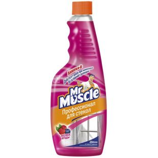 Mr. Muscle, 500 ml, a spare bottle, For washing glasses, Wild berries, PET