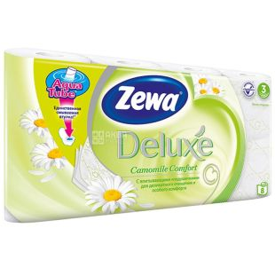 Zewa, 8 рулонов, туалетная бумага, Delux, Ромашка, м/у