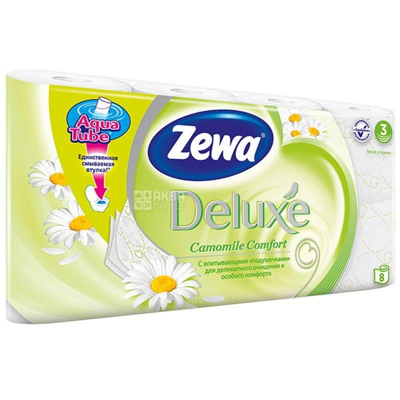 Zewa Deluxe Camomile Comfort, 8 рул., Туалетная бумага Зева Делюкс, Ромашка, 3-х слойная