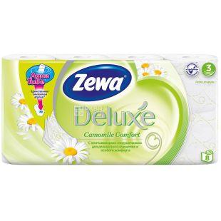Zewa Deluxe, Туалетная бумага, трехслойная, аромат ромашки, 8 рулонов