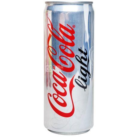 Coca Cola Light, 0,33 л, сладкая вода, ж/б