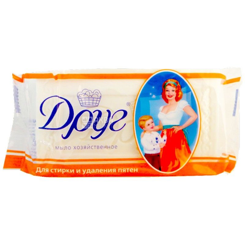 Друг, упаковка 4 шт. по 135 г, хозяйственное мыло, Для стирки и удаления пятен