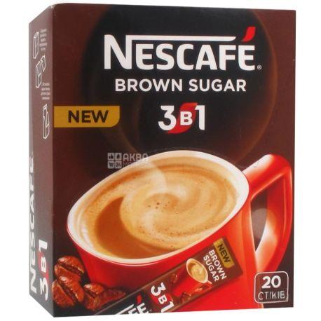 Nescafe Brown Sugar 3 в 1, 20 шт. х 16 г, Кофейный напиток Нескафе Браун Шуга, растворимый, в стиках