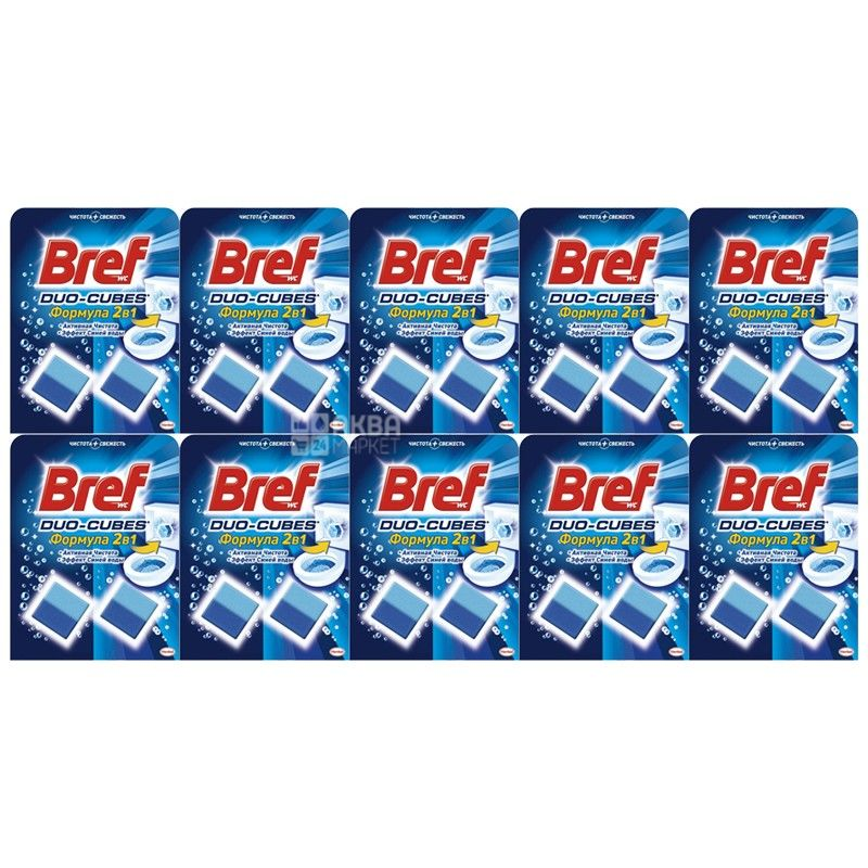 Bref Duo-Cubes, 2х50 г, упаковка 24 шт., Очищуючий засіб, Для унітазу