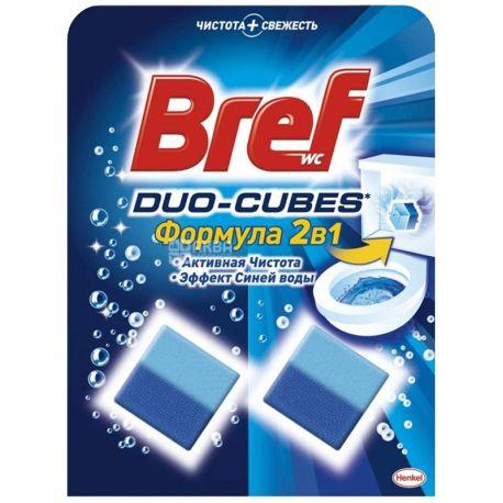 Bref Duo-Cubes, 2 х 50 г, Упаковка 24 шт., Кубики для чищення унітазу, ефект синьої води