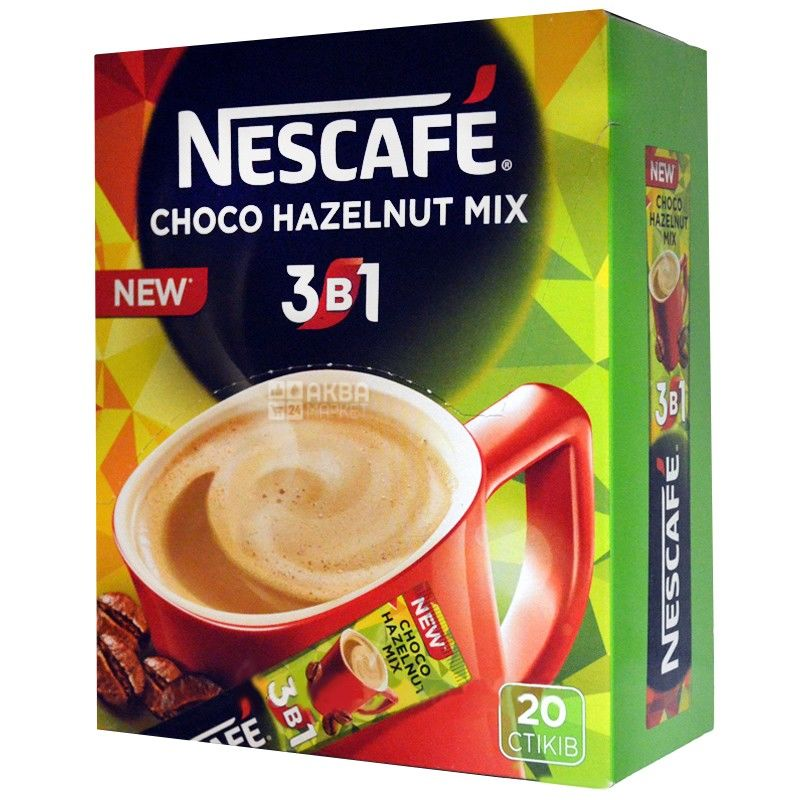 Nescafe, 20 pcs, coffee drink, Choco Hazelnut Mix 3 in 1