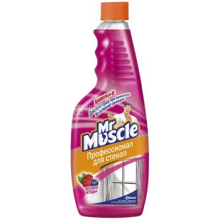 Mr. Muscle, Запасной флакон, Для мытья стекол, Лесные ягоды, 500 мл, Упаковка 12 шт.