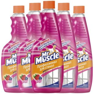 Mr. Muscle, 500 мл, упаковка по 12 шт., засіб для миття скла, запасний флакон, Лісові Ягоди, ПЕТ