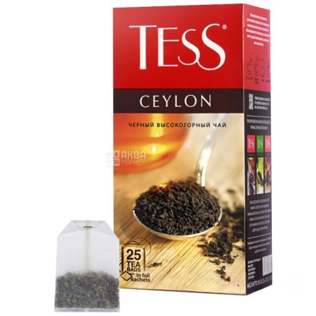 Tess, Ceylon, 25 пак., Чай Тесс, Цейлон, чорний