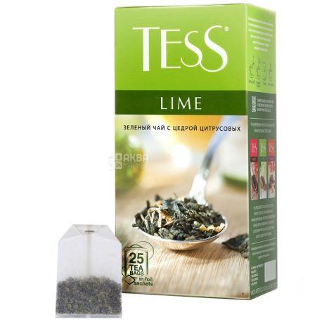 Tess, Lime, 25 пак., Чай Тесс, Лайм, зеленый с ароматом цитруса
