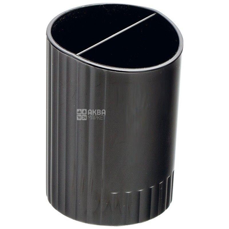 Buromax, стакан для ручек, Два отделения, Черный, м/у