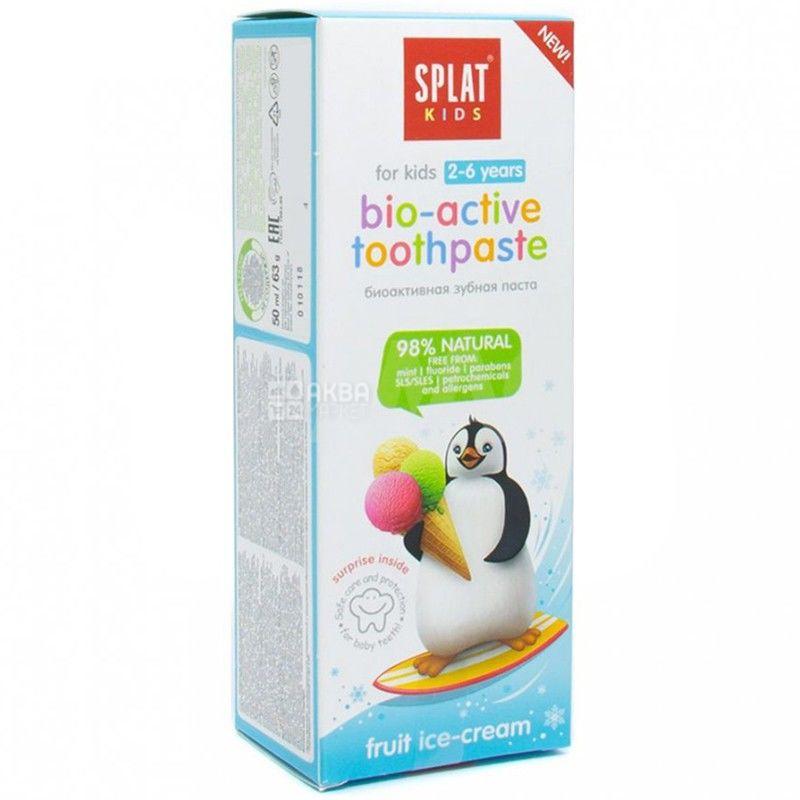 Splat, Фруктове морозиво, 50 мл, Біоактивна дитяча зубна паста, до 6 років