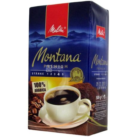 Melitta Montana Premium, 500 г, Кава Мелітта Монтана Преміум, середнього обсмаження, мелена