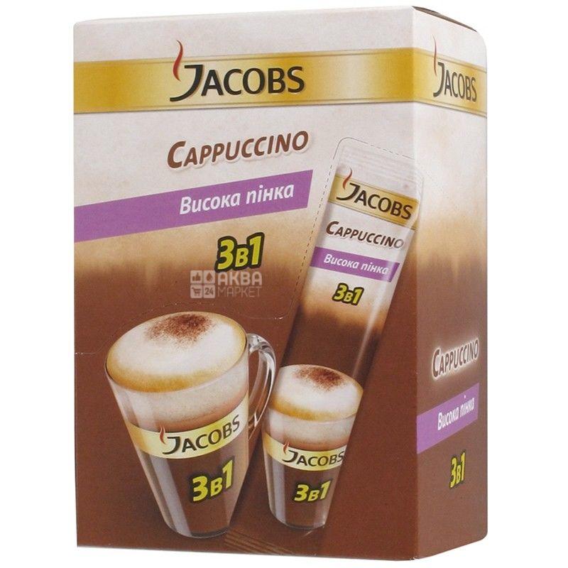 Jacobs Cappuccino, 3 в 1, 24 шт. х 12,5 г,  Кофейный напиток Якобс Капучино, в стиках