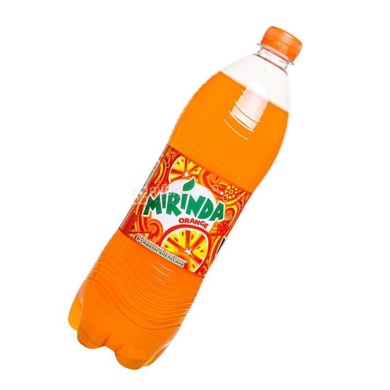 Mirinda, Orange, 1 л, Миринда, Апельсин, Вода сладкая, ПЭТ