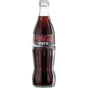 Coca-Cola Zero, 0,25 л, Кока-Кола Зеро, Вода солодка, низькокалорійна, скло