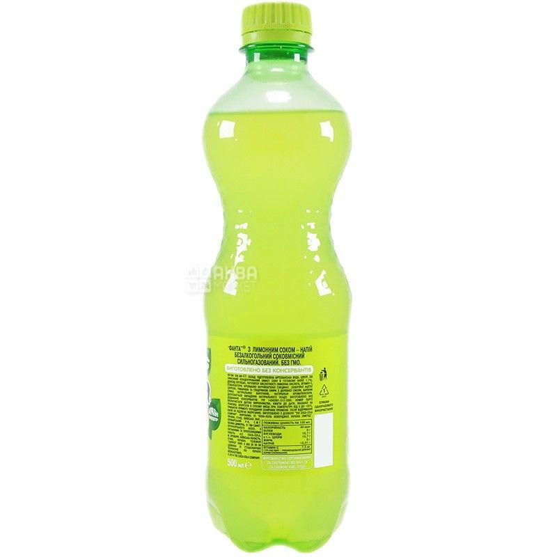 Fanta, Лимон, 0,5 л, Фанта, Вода сладкая, с натуральным соком, ПЭТ