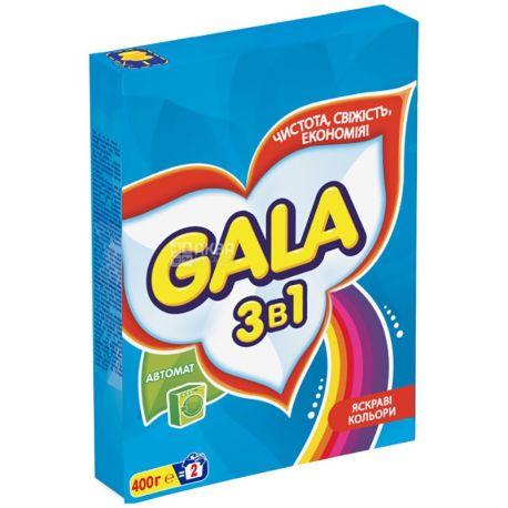 Gala, 400 г, стиральный порошок, Автомат, Для стирки цветного белья, Свежий цвет, 3 в 1, м/у