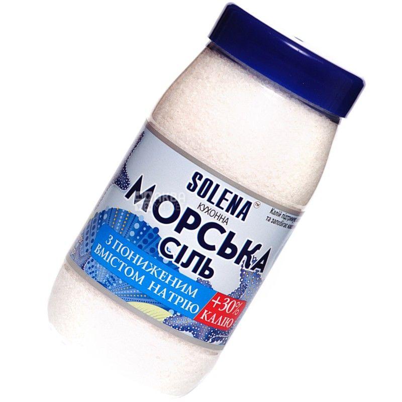 Solena, Соль, морская с пониженным содержанием натрия и калия, 700 г