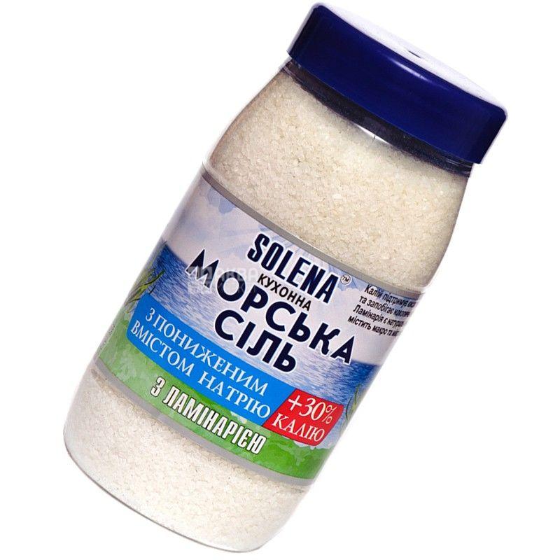Solena, Соль морская с пониженным содержанием натрия и калия, С ламинарией, 700 г