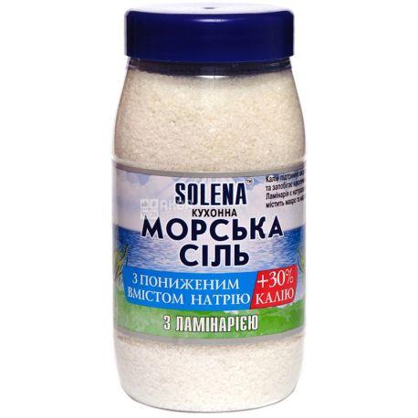 Solena, 700 г, соль кухонная, морская, С пониженным содержанием натрия+калий, С ламинарией, ПЭТ