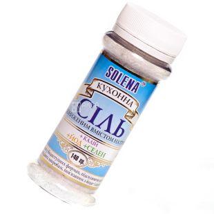Solena, Сіль зі зниженим вмістом натрію+калій+йод+селен, 140 г, млинок