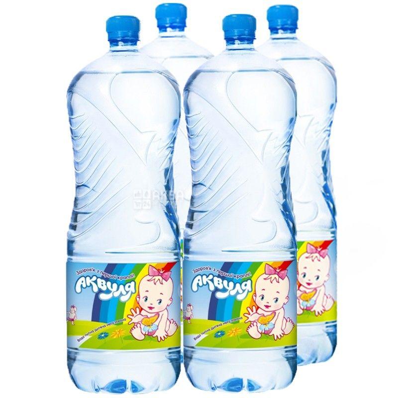 Аквуля, 2 л, Упаковка 4 шт., Вода детская негазированная, с первых дней жизни, ПЭТ