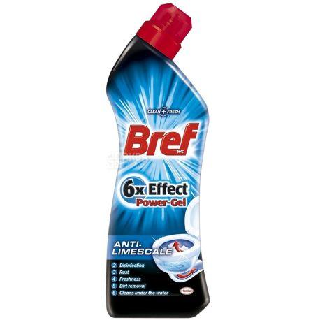 Bref, 750 мл, гель для чистки унитаза, 6x Effect Power Gel, Anti-Limescale, ПЭТ