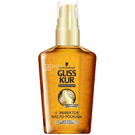 Gliss Kur, 75 мл, масло для волос, 6 Эффектов, ПЭТ