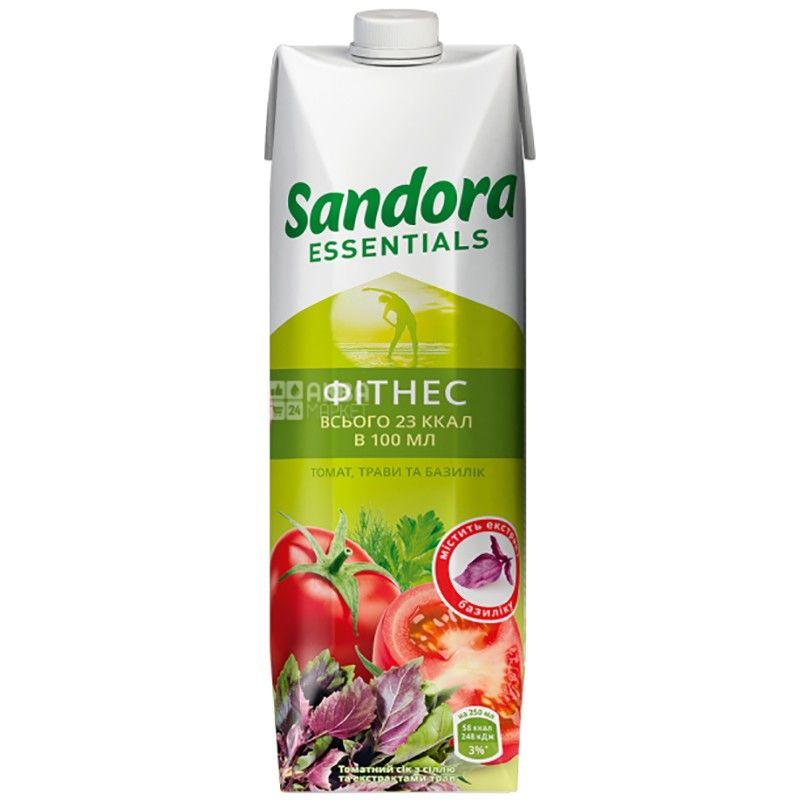 Sandora Essentials, Фитнес, Томатный с базиликом, 0,95 л, Сандора, Нектар натуральный, с солью