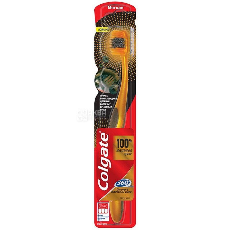 Colgate, 1 шт., Зубная щетка мягкой жесткости, С древесным углем