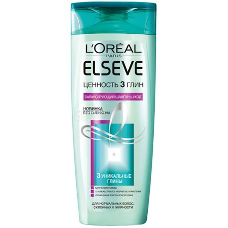 L'Oreal Elseve, 400 мл, шампунь, Ценность 3 глин, ПЭТ