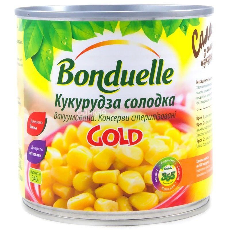 Bonduelle, 340 г, кукуруза, Сладкая, Gold, ж/б