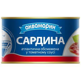 Аквамарин, 230 г, сардина обсмажена, В томатному соусі, ж/б