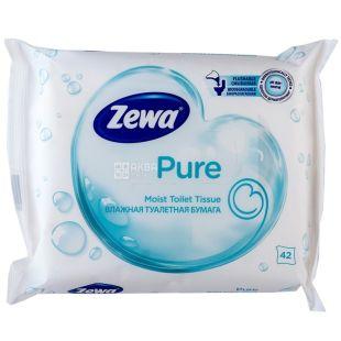 Zewa Pure, 42 аркуші, Туалетний папір Зева, Вологий