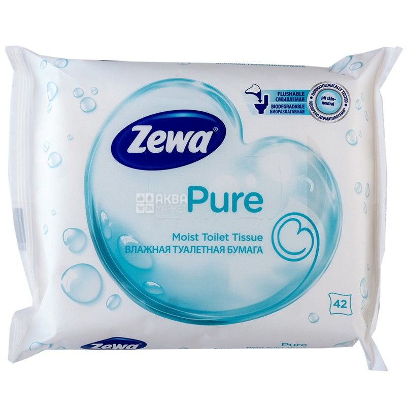 Zewa Pure, 42 листа, Туалетная бумага Зева Пьюр, Влажная