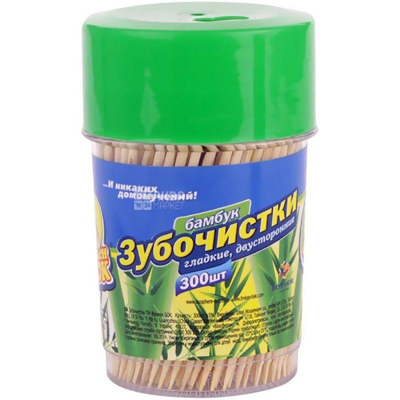 Фрекен Бок, 300 шт., зубочистки, Бамбуковые, Гладкие, Двусторонние, тубус