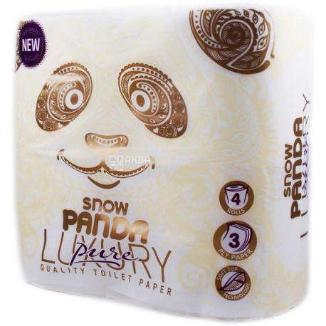 Снежная панда, Luxury, 4 рул., Туалетная бумага, Люксери, 4-х слойная