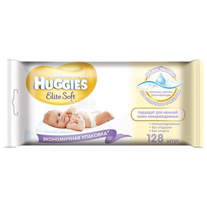 Huggies, 128 шт., салфетки влажные, Elite, м/у
