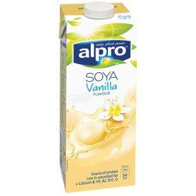 Alpro, Soya Vanilla, 1 л, Алпро, Соевое молоко с ванилью, витаминизированное