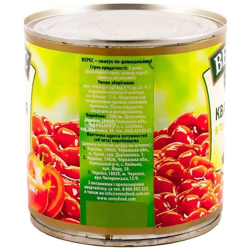 Верес, 400 г, фасоль, В томатном соусе, ж/б