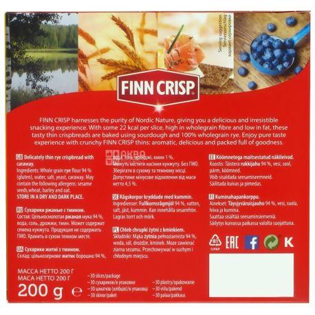 Finn Crisp, 200 г, сухарі житні, З кмином, Caraway, м/у