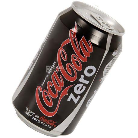 Coca-Cola Zero, 0,33 л, Кока-Кола Зеро, Вода сладкая, низкокалорийная, ж/б