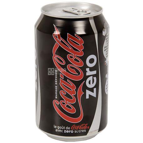 Coca-Cola Zero, 0,33 л, Кока-Кола Зеро, Вода солодка, низькокалорійна, ж/б