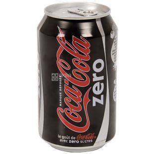 Coca Cola Zero, 0,33 л, сладкая вода, ж/б