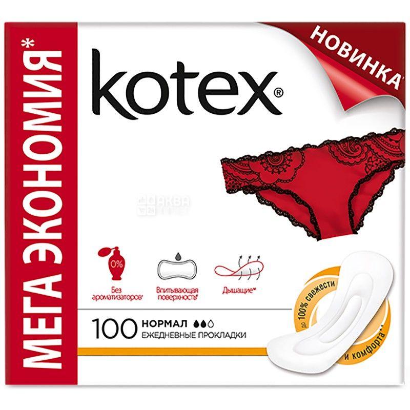Kotex, 100 шт., прокладки, normal ежедневные