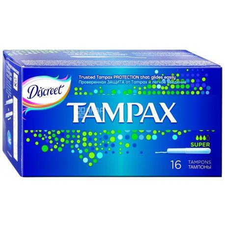 Tampax, Super Duo, 16 шт., Тампоны гигиенические, с аппликатором, 3 капли