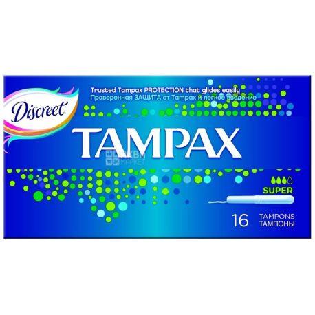 Tampax, 16 шт., тампоны с апликатором, Super Duo
