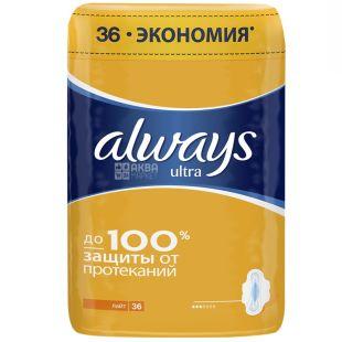 Always, 36 шт., прокладки гигиенические, Ultra Light Quadro, м/у